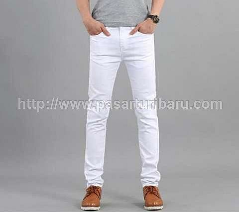 Celana Jeans Putih Pria Stretch Model Pencil Big Size 31-36