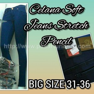 Celana Panjang Wanita Biru Big Size 31-36 Stretch Pencil Soft Jeans
